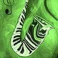 Piano Keys In A  Saxophone Green Music In Motion by Wayne Cantrell
