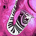 Piano Keys In A Saxophone Hot Pink - Music In Motion by Wayne Cantrell