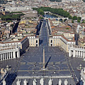 Piazza San Pietro And Colonnaded Square As Seen From The Dome Of Saint Peter's Basilica - Rome, Ital by Mihaela Nica