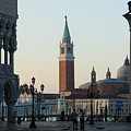 Piazzetta San Marco In Venice In The Morning With Sweepers by Michael Henderson