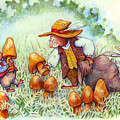 Picking Mushrooms by Peggy Wilson