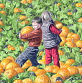 Picking Pumpkins by Holly  Bedrosian