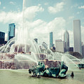 Picture Of Buckingham Fountain With Chicago Skyline by Paul Velgos