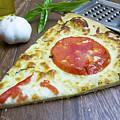 Piece Of Margarita Pizza With Fresh Ingredients by Karen Foley