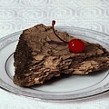 Piece Of Pine Cake With Cherry. by Viktor Savchenko