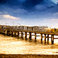 Pier At Sunset Oil Painting Photograph by John Williams