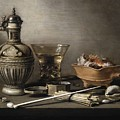 Pieter Claesz - Still Life With A Stoneware Jug, Berkemeyer, And Smoking Utensils 1640 by Pieter Claesz