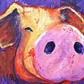 Pig On Purple I by Connie Beattie
