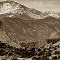 Pikes Peak And Garden Of The Gods Panorama - Colorado Springs - Sepia Edition by Gregory Ballos
