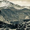 Pikes Peak Mountain Panorama - Colorado Springs In Sepia 2 by Gregory Ballos
