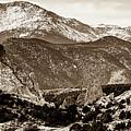 Pikes Peak Mountain Panorama - Colorado Springs In Sepia by Gregory Ballos