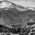 Pikes Peak Panorama - Garden Of The Gods - Colorado Springs - Black And White by Gregory Ballos