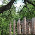 Pillars Of Sheldon Church Ruins by Carol Groenen