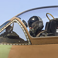 Pilot In The Cockpit Of A Skyhawk Fighter Jet  by Nir Ben-Yosef