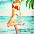 Pin-up Beach Blonde In Red Bikini by Alicia Hollinger