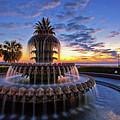 The Pineapple Fountain At Sunrise In Charleston, South Carolina, Usa by Sam Antonio Photography