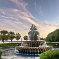 Pineapple Fountain Sunset - Charleston Sc by Drew Castelhano