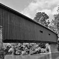 Pinetown Bushong's Covered Bridge Black And White by Lisa Wooten