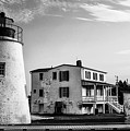 Piney Point Lighthouse - Mayland - Black And White by Bill Cannon