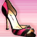 Pink And Black Stripe Shoe by Elaine Plesser