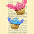 Pink And Blue Cupcakes Vintage Dictionary Art by Madame Memento