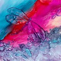 Pink And Blue Dragonflies by Debora Boudreau