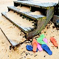 Pink And Blue Flip Flops By The Steps by Michael Thomas