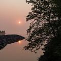 Pink And Green Summer - Soft Misty Sunrise On The Lake by Georgia Mizuleva