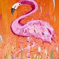 Pink And Orange Flamingo  by Rebecca Williams
