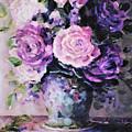 Pink And Purple Roses by Ellen Lerner ODonnell