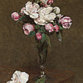 Pink And White Roses In A Champagne Flute by Ignace Henri Jean Fantin-Latour