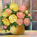 Pink And Yellow Roses by Sally Seago