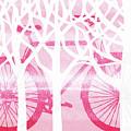Pink Bicycle White Forest Silhouette by Irina Sztukowski