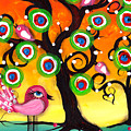Pink Birds On A Tree by  Abril Andrade Griffith