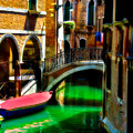 Pink Boat And Canal by Harry Spitz