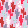 Pink Cactus Pattern by Yetiland