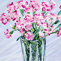 Pink Carnations In A Vase. For Sale by Oksana Semenchenko