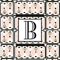 Pink Champagne Deco Monogram  B by Cecely Bloom