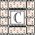 Pink Champagne Deco Monogram  C by Cecely Bloom
