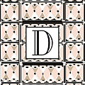 Pink Champagne Deco Monogram  D by Cecely Bloom