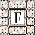 Pink Champagne Deco Monogram  F by Cecely Bloom