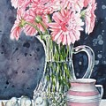 Pink Daisies In Crystal Pitcher by Jane Loveall
