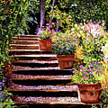Pink Daisies Wooden Steps by David Lloyd Glover