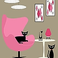 Pink Egg Chair With Two Cats by Donna Mibus
