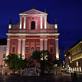 Pink Facade Of Franciscan Church Of The Annunciation Next To Urb by Reimar Gaertner