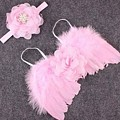 Pink Feather Baby Girl Angel Wings With Flower Lace Headband by Newborn Propsz