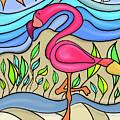 Pink Flamingo Glassy by Tab O'Neal
