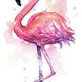 Pink Flamingo Watercolor Tropical Bird by Olga Shvartsur