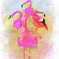 Pink Flamingos In The Park by Tab O'Neal