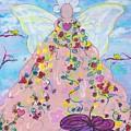 Pink Flower Angel by Sandy Burch